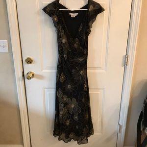 Maggy London Womens Flower Pattern 100% Silk Dress